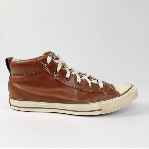 Converse Hi Top Brown Leather Sneakers Shoes
